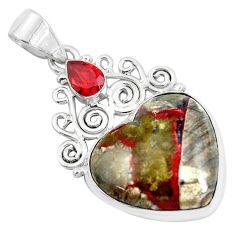 17.42cts natural brown mushroom rhyolite heart garnet 925 silver pendant d31129