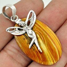 NATURAL BROWN OWYHEE BRUNEAU JASPER 925 SILVER ANGEL WINGS FAIRY PENDANT F68611