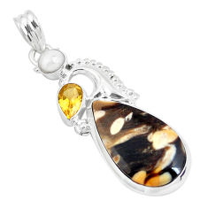 Clearance Sale- 16.20cts natural brown peanut petrified wood fossil 925 silver pendant d31274