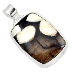 19.23cts natural brown peanut petrified wood fossil 925 silver pendant p41082