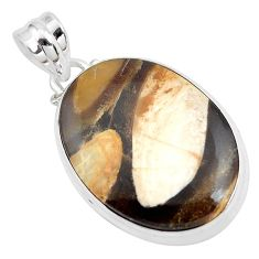 17.22cts natural brown peanut petrified wood fossil 925 silver pendant p41092