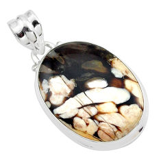 13.15cts natural brown peanut petrified wood fossil 925 silver pendant p41097