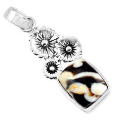 7.66cts natural brown peanut petrified wood fossil silver flower pendant p55046