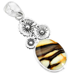 14.72cts natural brown peanut petrified wood fossil silver flower pendant p55053