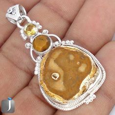 25.93cts NATURAL BROWN PETRIFIED WOOD FOSSIL 925 SILVER PENDANT G10690
