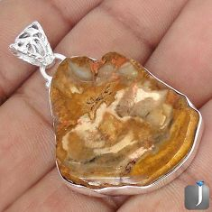 33.74cts NATURAL BROWN PETRIFIED WOOD FOSSIL 925 STERLING SILVER PENDANT G10693
