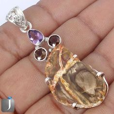 25.42cts NATURAL BROWN PETRIFIED WOOD FOSSIL AMETHYST 925 SILVER PENDANT G10674