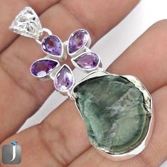 30.30cts NATURAL BROWN PETRIFIED WOOD FOSSIL AMETHYST 925 SILVER PENDANT G10699