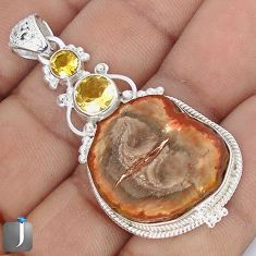 29.20cts NATURAL BROWN PETRIFIED WOOD FOSSIL CITRINE 925 SILVER PENDANT G10697