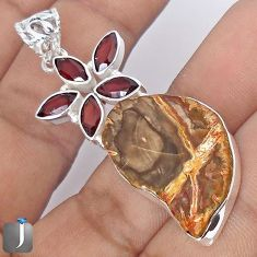 26.62cts NATURAL BROWN PETRIFIED WOOD FOSSIL GARNET 925 SILVER PENDANT G10689