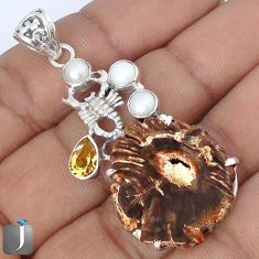 NATURAL BROWN PETRIFIED WOOD FOSSIL PEARL 925 SILVER SCORPION PENDANT G10677