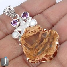 NATURAL BROWN PETRIFIED WOOD FOSSIL PEARL 925 SILVER STAR FISH PENDANT G10666