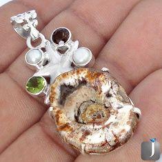 NATURAL BROWN PETRIFIED WOOD FOSSIL PERIDOT 925 SILVER STAR FISH PENDANT G10662