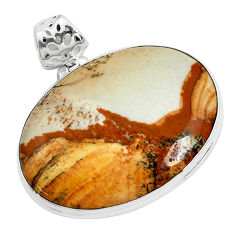 38.70cts natural brown picture jasper 925 sterling silver pendant jewelry p46828