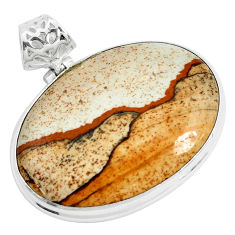 39.74cts natural brown picture jasper 925 sterling silver pendant jewelry p46833