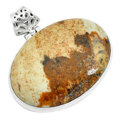 40.28cts natural brown picture jasper 925 sterling silver pendant jewelry p59221