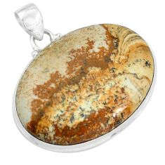 36.80cts natural brown picture jasper 925 sterling silver pendant jewelry p59226