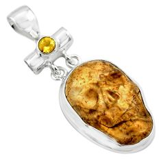 18.15cts natural brown picture jasper citrine 925 silver skull pendant p84496