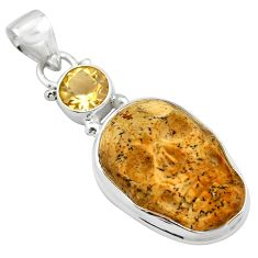 17.22cts natural brown picture jasper citrine 925 silver skull pendant p84500