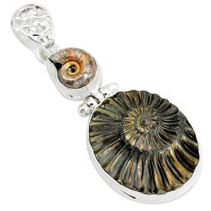 33.10cts natural brown pleuroceras ammonite 925 sterling silver pendant p35832