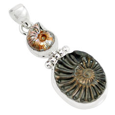 22.57cts natural brown pleuroceras ammonite 925 sterling silver pendant p35834