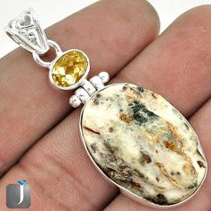 22.16cts NATURAL BROWN PYROLUSITE CITRINE 925 STERLING SILVER PENDANT G51897