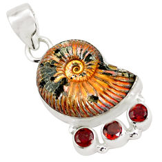 25.19cts natural brown russian jurassic opal ammonite 925 silver pendant p64718
