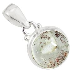 11.74cts natural brown scenic lodolite 925 sterling silver pendant p79069