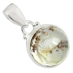 15.02cts natural brown scenic lodolite 925 sterling silver pendant p79073
