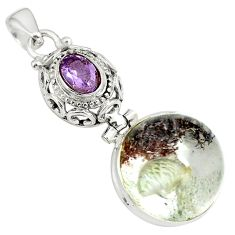 18.94cts natural brown scenic lodolite amethyst 925 silver pendant p79054