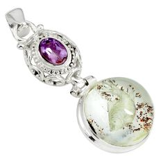 22.02cts natural brown scenic lodolite amethyst 925 silver pendant p79057