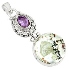 24.08cts natural brown scenic lodolite amethyst 925 silver pendant p79058