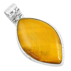 33.66cts natural brown tiger's eye 925 sterling silver pendant jewelry d31067