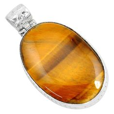 40.52cts natural brown tiger's eye 925 sterling silver pendant jewelry d31071