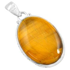 29.34cts natural brown tiger's eye 925 sterling silver pendant jewelry d31072