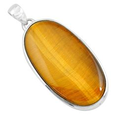 41.64cts natural brown tiger's eye 925 sterling silver pendant jewelry d31078