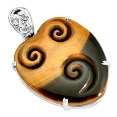 31.58cts natural brown tiger's eye 925 sterling silver pendant jewelry p35905