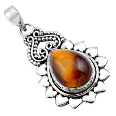 11.62cts natural brown tiger's eye 925 sterling silver pendant jewelry p84747