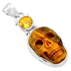 17.22cts natural brown tiger's eye citrine 925 silver skull pendant p84468