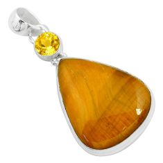 Clearance Sale- 29.93cts natural brown tiger's eye citrine 925 sterling silver pendant d31064