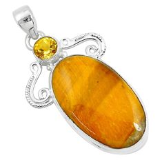 33.68cts natural brown tiger's eye citrine 925 sterling silver pendant d31070