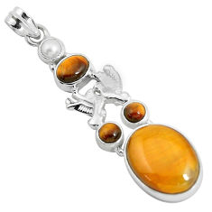 17.44cts natural brown tiger's eye pearl 925 silver love birds pendant d31051