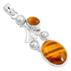 16.46cts natural brown tiger's eye pearl 925 sterling silver pendant d31050