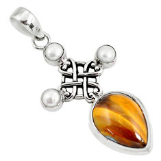 14.19cts natural brown tiger's eye pearl 925 sterling silver pendant p56863