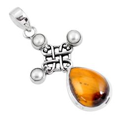 14.61cts natural brown tiger's eye pearl 925 sterling silver pendant p56868