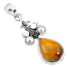 13.05cts natural brown tiger's eye pearl 925 sterling silver pendant p56869