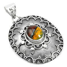 3.89cts natural brown tiger's hawks eye 925 sterling silver pendant p33561
