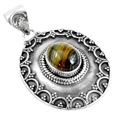 4.54cts natural brown tiger's hawks eye 925 sterling silver pendant p33562
