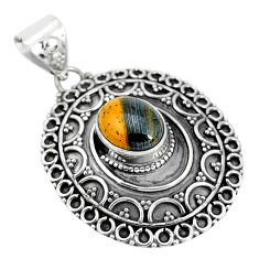 4.01cts natural brown tiger's hawks eye 925 sterling silver pendant p33565