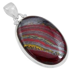 29.93cts natural brown tiger's hawks eye 925 sterling silver pendant p89241